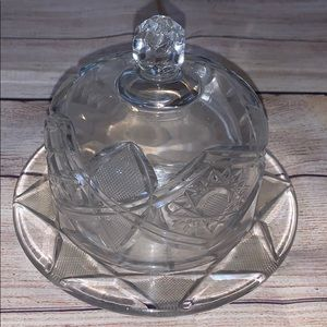 💥Vintage Crystal Cut Round Butter Dish